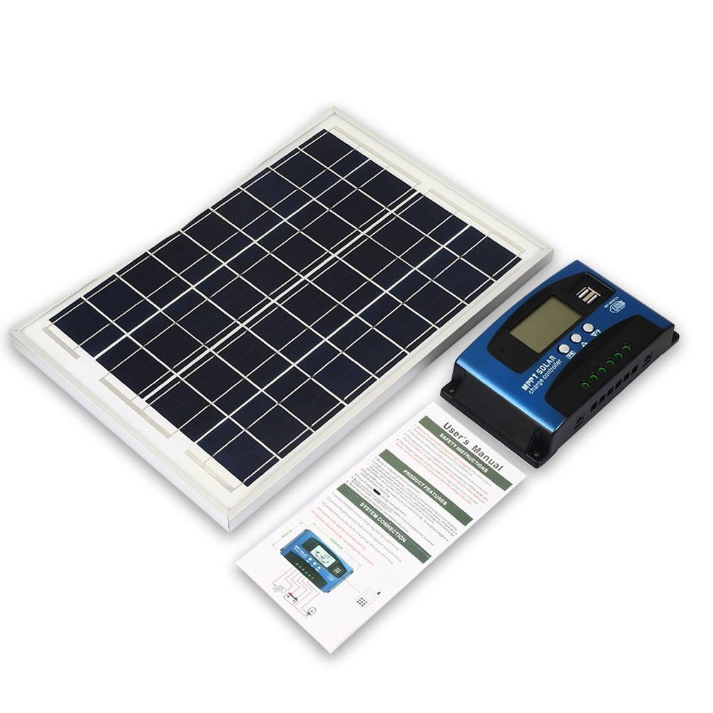 Solar Panel Charger Polysilicon W//Dual USB Power Supply Solar Charge Controller