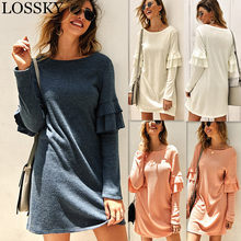 Autumn Winter Knitted Loose Mini Dress Casual Round Neck Long Sleeve Ruffles Knit Dress Ladies Dresses For Women Robe Vestidos(China)