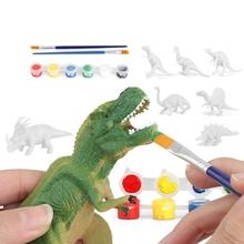 DIY kolorowanki do malowania zwierząt Model dinozaura rysunek akwarela Graffiti do rękodzieła artystycznego dzieci Doodle zabawka tanie tanio CN (pochodzenie) Kids Painting Animal Model toy set