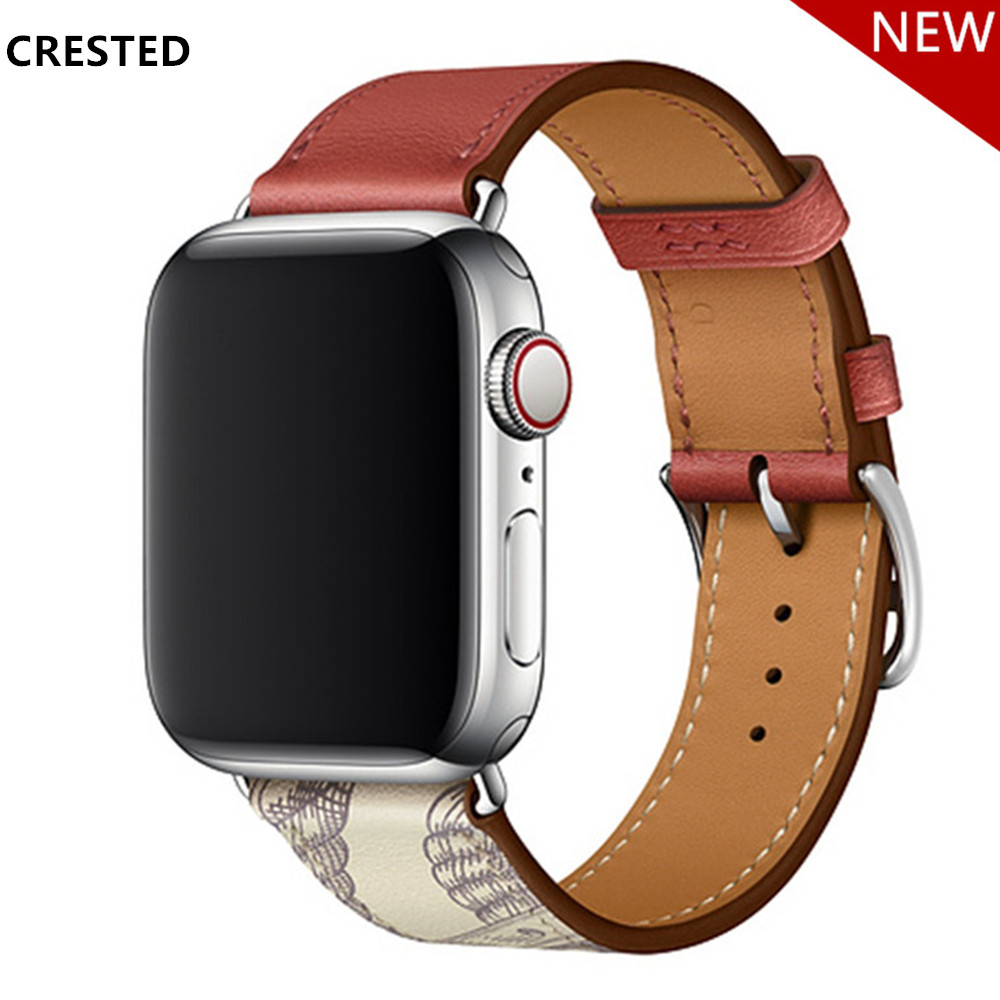 Leather Strap For Apple Watch Band Herm Pulseira Apple Watch 5 4 3 44mm 40mm  Iwatch Band 42mm 38mm Correa Watchband Bracelet