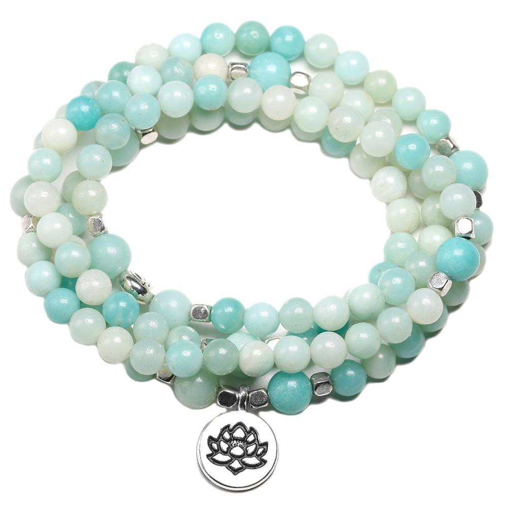 Lotus Charm Bracelet for Women Men Natural Amazonite Stone 6mm Beads Yoga 108 Mala Energy Chakras Bracelets Dropshipping(China)