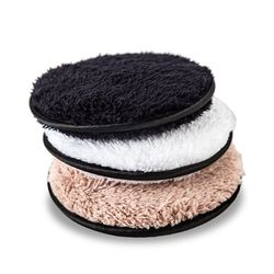 3pcs Reusable Makeup Remover Microfiber Cloth Pads Remover Towel Face Cleansing Cleaner Plush Make up Lazy Cleansing Powder Puff