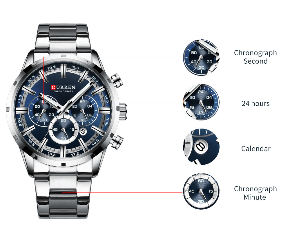 H2269db8ba2d5484d827f740cecb6aaf3L CURREN Top Brand Military Quartz Watches Silver Clock Mens Quartz Stainless Steel Chronograph Watch for Men Casual Sporty Watch