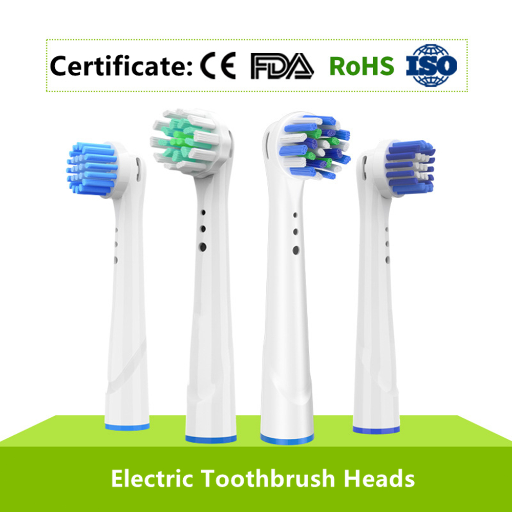 Replacement Toothbrush Heads For Oral B Rotary Electric Teethbrush 4pc/Pack Brush Head Precision Clean Cross Action 3D White image