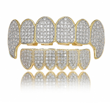 Jewelry Grills Zircon Top-Bottom Teeth-Caps Fangs Punk Cosplay Party-Rapper D-Mouth Hip-Hop
