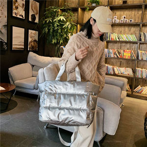 Image 3 - Winter new Large Capacity Shoulder Bag for Women Waterproof Nylon Bags Space Pad Cotton Feather Down Bag Large Bag with Shoulder