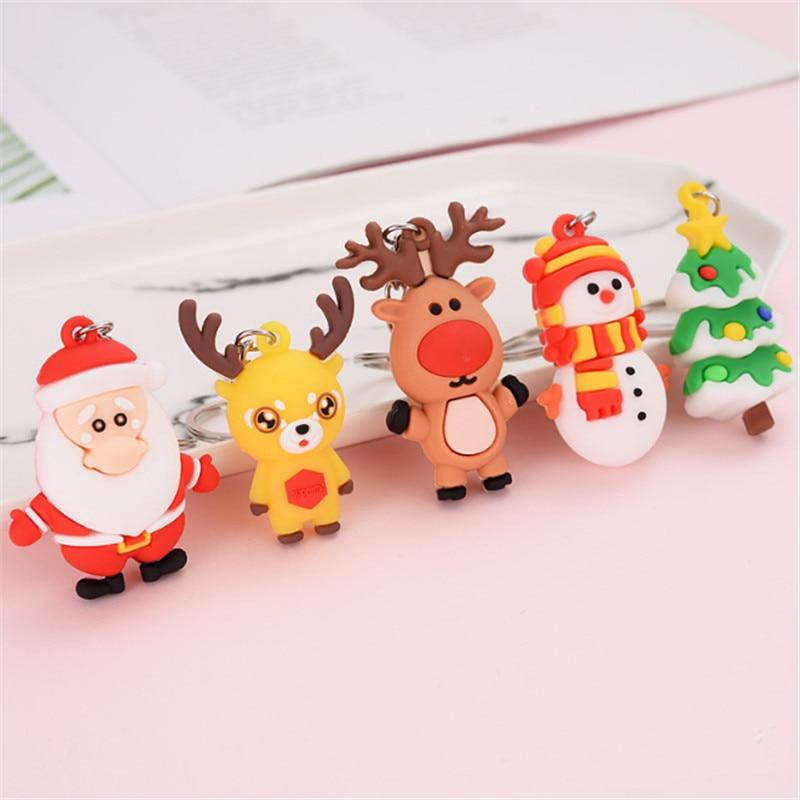 Счастливого Рождества с утолщённой меховой опушкой, рождественские украшения Санта Клаус Лось брелок Снеговик Новогоднее украшение 2021 Дет...