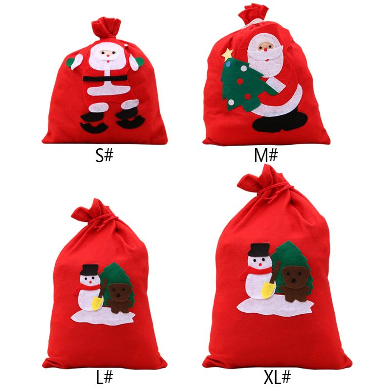 Red Christmas Gift Candy Storage Bag Xmas Decoration Present Organizer