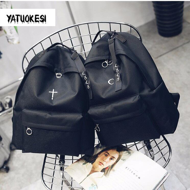 2020 Canvas Backpack New Korean Style Black Embroidery Backpack For Unisex Schoolbags Laptop Travel Bookbag Mochilas Mujer 2020