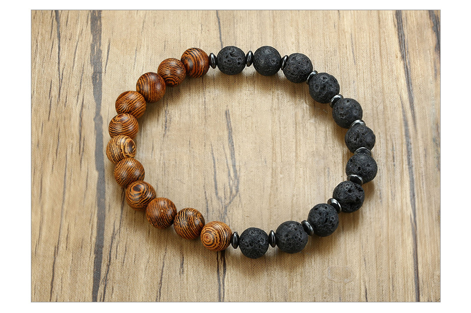 H226a5dc79727410e92092813694bdb02J - Wood & Lava Stone Bracelet