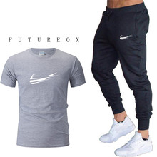 New mens print sportswear T-shirt+pants two-piece suit running clothes for men workout jogging sports