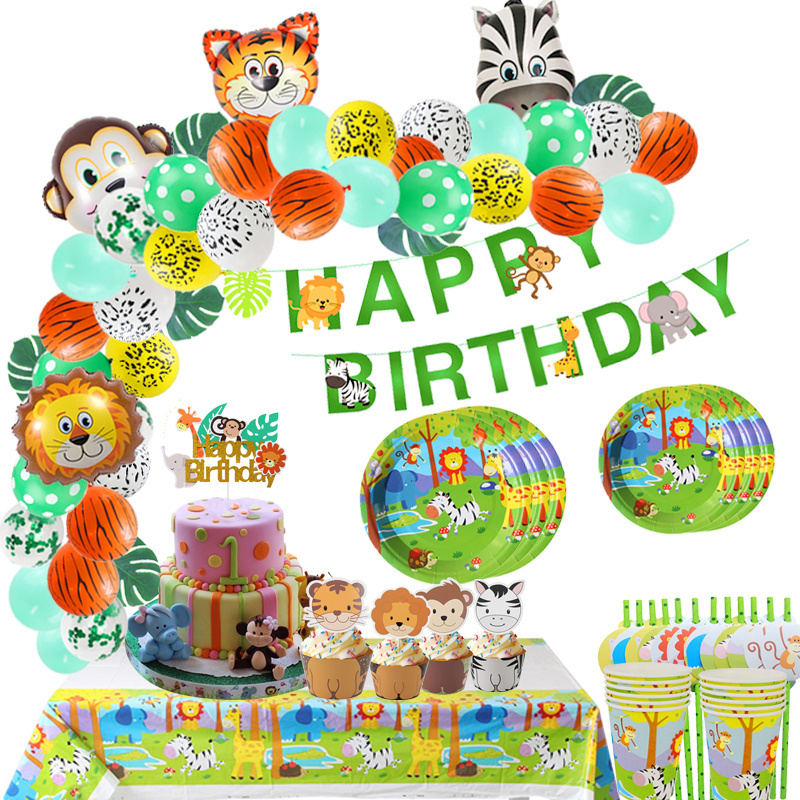 Jungle Happy Birthday Banner Safari Animal Cake Topper Wild One 1st Boy Birthday Party Decoration Cake Flags Jungle Party Supply