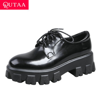 QUTAA 2020 Platform Lace Up Women Shoes Quality Cow Leather Women Pumps Square Heel Round Toe All Match Ladies Shoes Size34-39