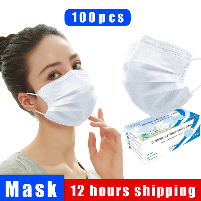 20/50/100 pcs Protection masks prevent Anti Dust Mouth masks 3 lays Filter Safety respirator White Masks Disposable Face Masks
