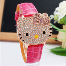 Fashion Brand Quartz Watch Children Girl Women Leather Cryst