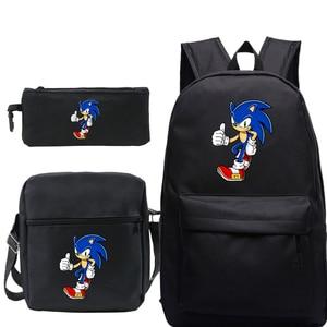 Mochila Sonic The рюкзак с ежом Men 3 шт./компл. аниме хип-хоп Plecak Sac A Dos Femme Kpop Чехол-Карандаш сумка через плечо