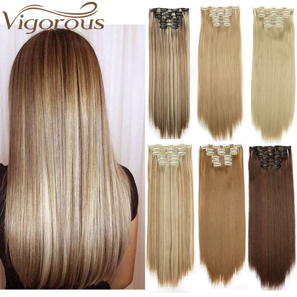 Vigorous Clip In Hair Extension 16 Clips Blond Long  22inches  Straight Synthetic Heat Resistant Hairpiece Color For Women