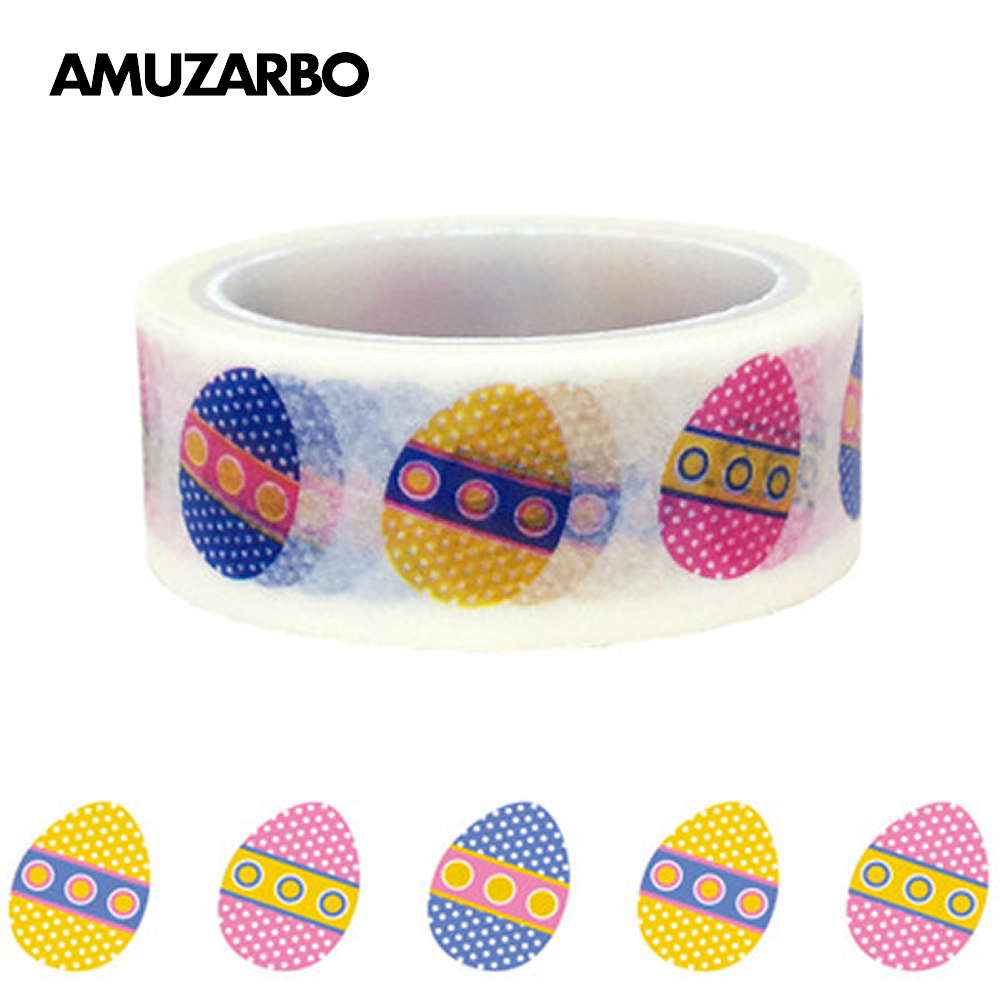 Easter Egg Washi Tape 1.5cm*5M Color Writable Hand Tearing Sticker Tape Gift Decoration Material DIY Scrapbook Masking Tapes