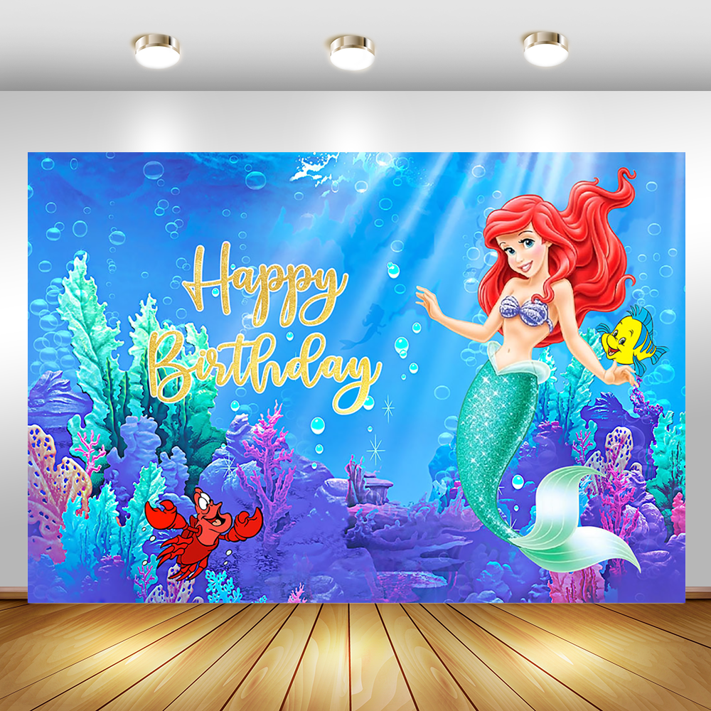 MOCSICKA Mermaid Backdrop Fairy Tale Under The Sea Little Mermaid Backdrops Booth Birthday Party Banner Background