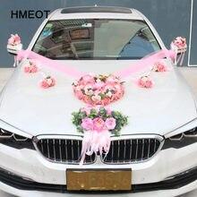HMEOT Custom Made romantyczny styl w kształcie serca ślub dekoracja samochodu kwiaty ślub dekoracyjny sztuczny jedwabne kwiaty róży