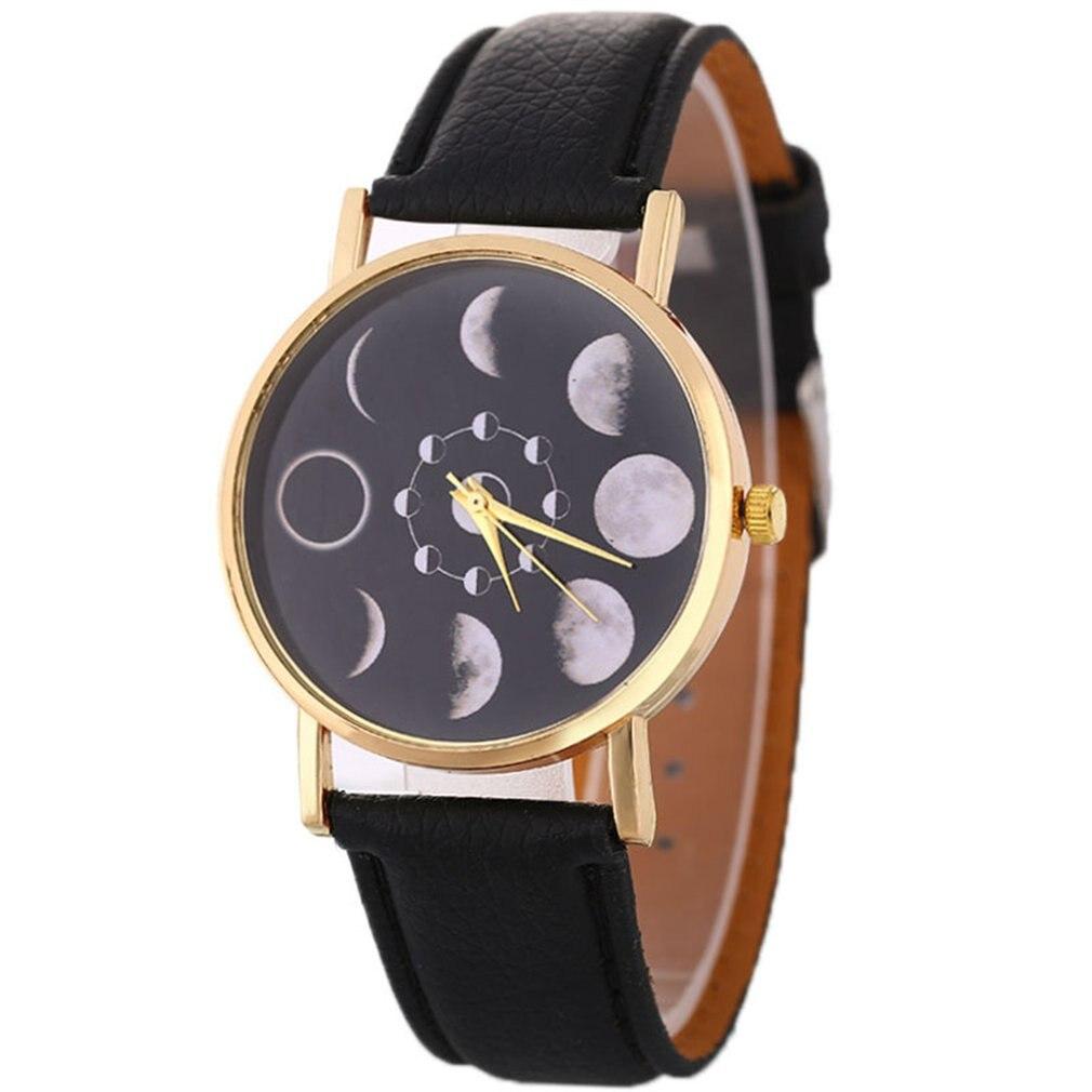 Trendcy Stylish Cheap Women Quartz WristWatch Leather Strap Band Lunar Phase Shape Dial Fashion Girls Valentien Gifts