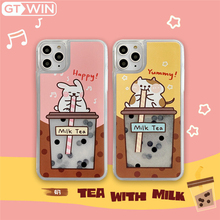 GTWIN Cartoon Quicksand Rabbit Drinking Pearl Milk Tea Phone Case For