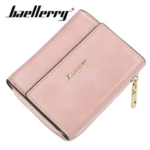 Baellerry Wallet Women Fashion Short Solid PU Leather Zippper Hasp Porta Handbag Card Holder Note Compartment Bag