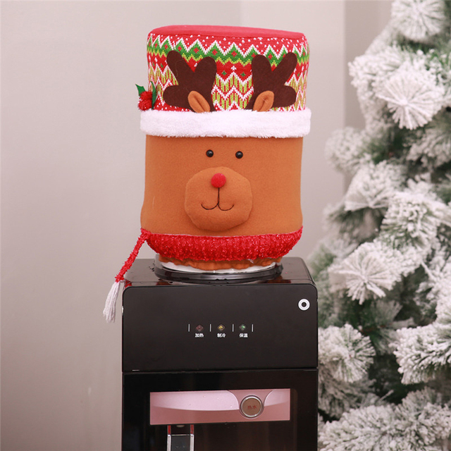 New Christmas Decor Drinking Bucket Dust Cover Christmas Home Decorations Snowman Santa Claus Elk Water Dispenser Barrel Cover
