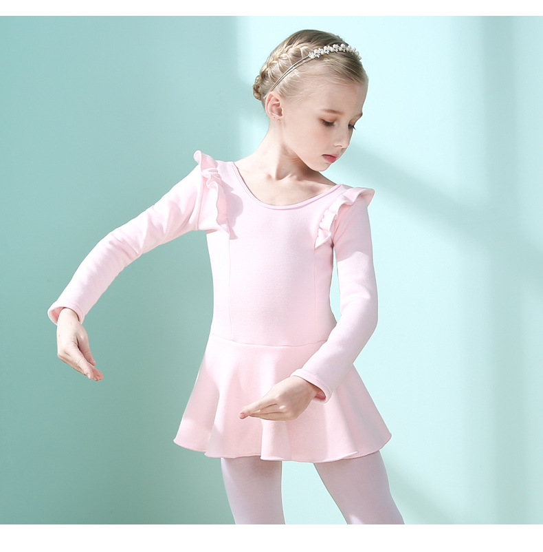 Children Latin Dance Exercise Clothing Plus Velvet Girls Dancing Dress Autumn & Winter Long Sleeve Dancing Dance Skirt