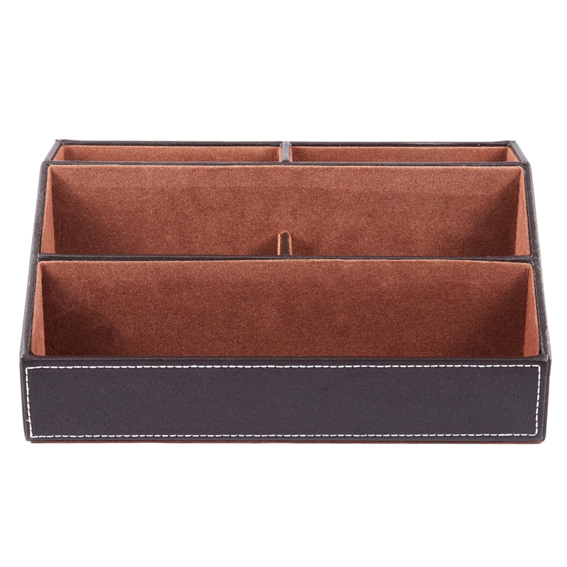 Home Office Wooden Struction Leather Multi-function Desk Stationery Organizer Storage Box, Pen/Pencil ,Cell Phone, Business Name