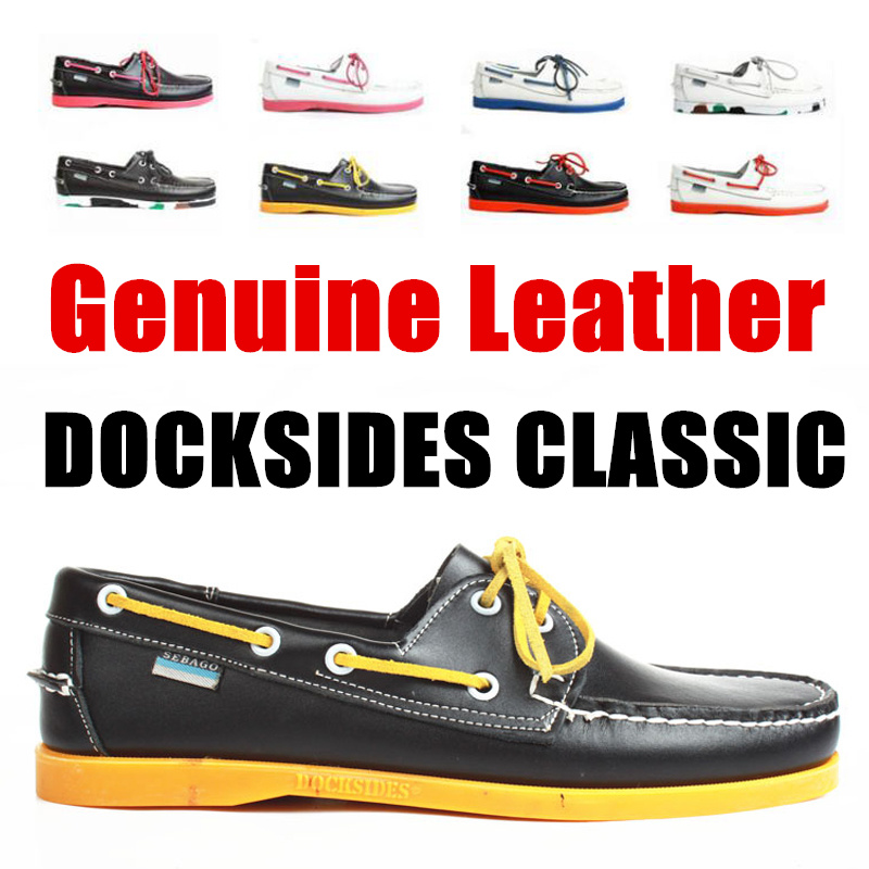 Men Genuine Leather Driving Shoes,Docksides Classic Boat Shoe,Brand Design Flats Loafers For Homme Femme Women A055