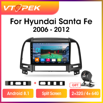 Vtopek 9 2GB+32GB 2din Android 9.0 Car Radio Multimedia Player GPS Navigation For Hyundai Santa Fe 2 2006-2012 Head Unit 2 din image