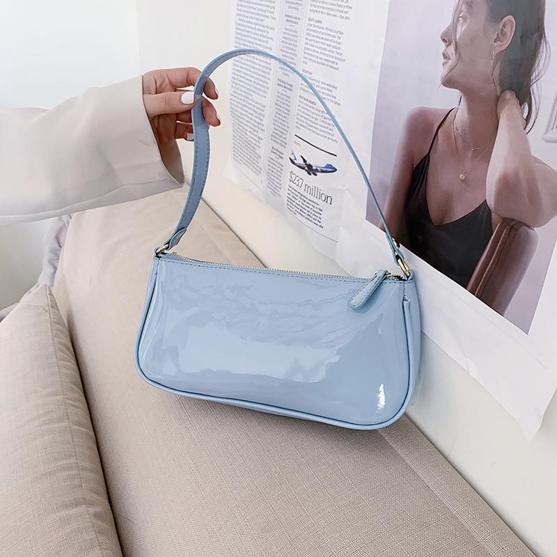 Créateur de mode peau brillante sacs pour femmes 2020 nouveaux sacs à Main de luxe en cuir Pu Baguette Sac femme Sac à Main femmes Sac A Main