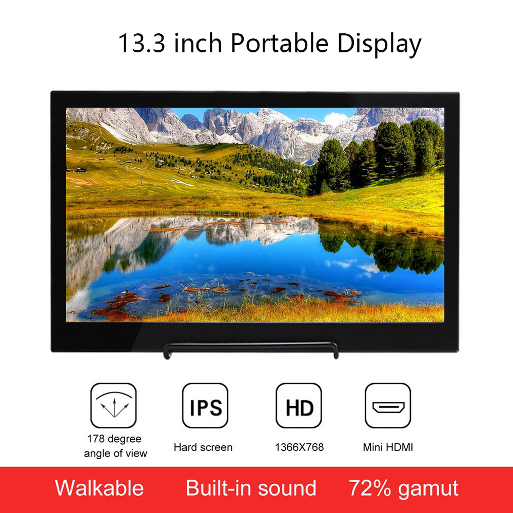 13.3 inch Portable Display LED Monitor 1366x768 HD IPS Display Computer Monitor HDMI TV for PS4 Pro/Xbox/Phone image