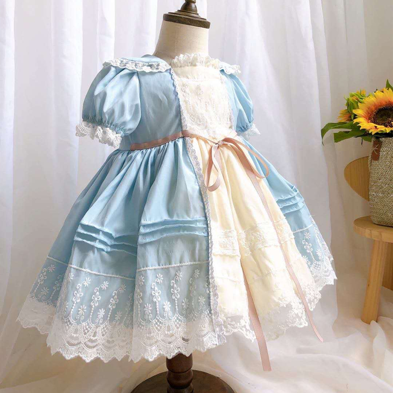 0-7Y Summer Lace Turkey Vintage Spanish Lolita ShortSleeve Princess Ball Gown Dress For Bady Girls Easter Birthday Party Dress