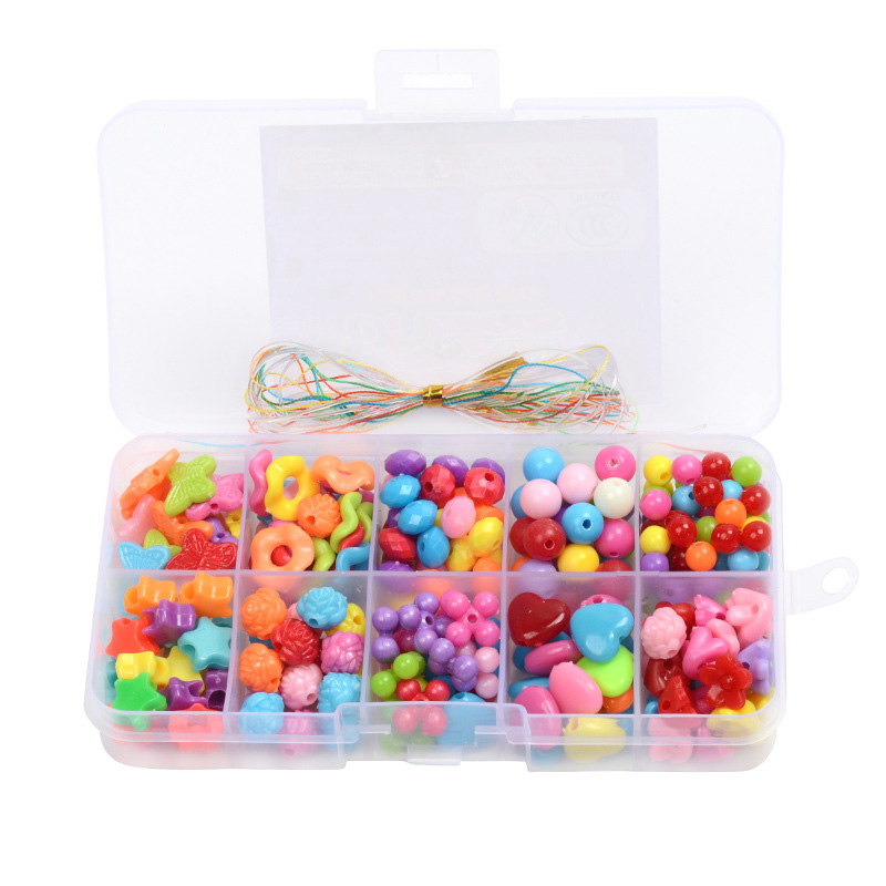 DIY Educational Toy Acrylic Bead Kit With 10 Grids Plastic Handmade Jewelry Beads Set Necklace Bracelet Making Toys For Children