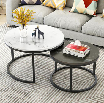 2 in 1 Living room coffee tables marble texture wooden combination furniture round tea table durable table mc2102b modern living room furniture marble top tea table coffee table with drawer