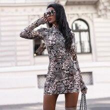 9,30€ Vestido ajustado con estampado de leopardo de serpiente para mujer, Mini Vestido corto de manga larga Se