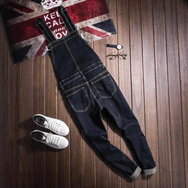 Nuovo 2020 di Modo di casual Lavaggio Skinny Tute e Salopette Dei Jeans Dei Pantaloni Degli Uomini di Design Vintage Tasca Dei Jeans Denim Tute e Salopette Maschio Blu Della Tuta di Jeans