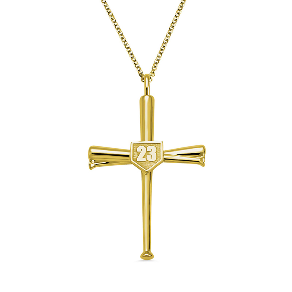 Sweey Dropshipping Customized Initial & Number Baseball Cross Necklace Personalized Unique Engraved Cross Necklace