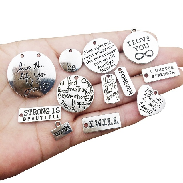 30pcs Inspiration Words Charms Craft Supplies Pendants Charms Pendants Charms for Jewelry Making DIY Necklace Bracelet