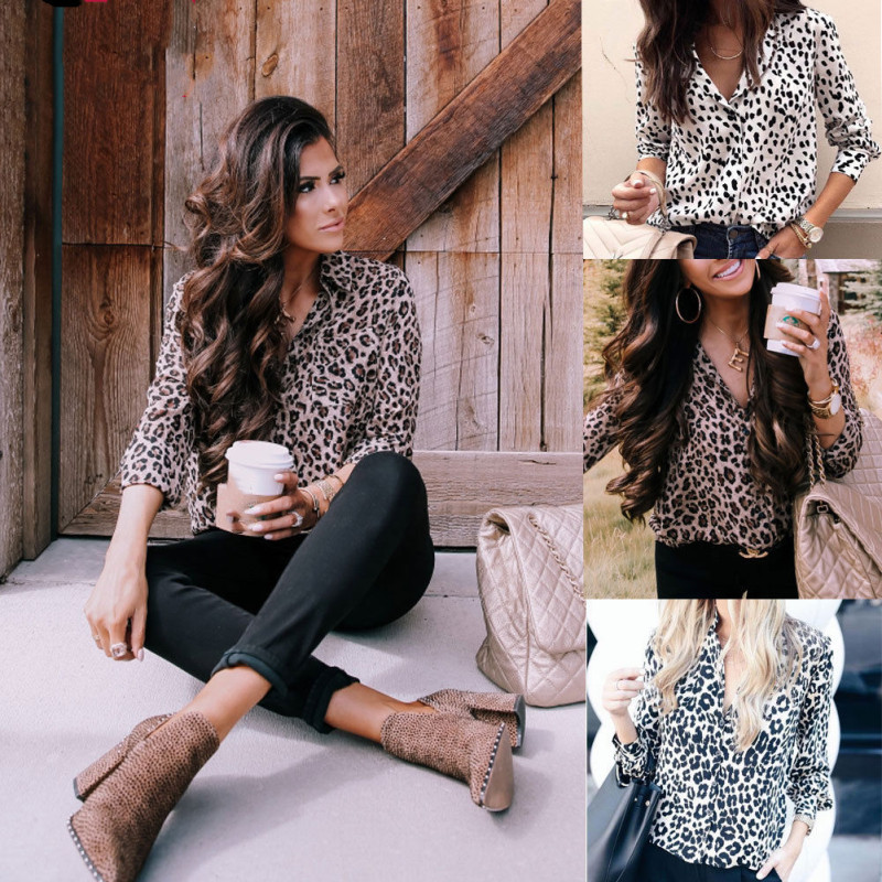 Womens Blouse Sexy Long Sleeve Shirt V Neck Leopard Print Top Streetwear Club Party Blouse Femme Buttons Tops Autumn Shirt Women
