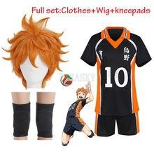 Disfraz Haikyuu Karasuno de alta calidad, uniforme de voleibol escolar, Hinata Shyouyou Kageyama Tobio, ropa deportiva, Jersey, peluca kneepa