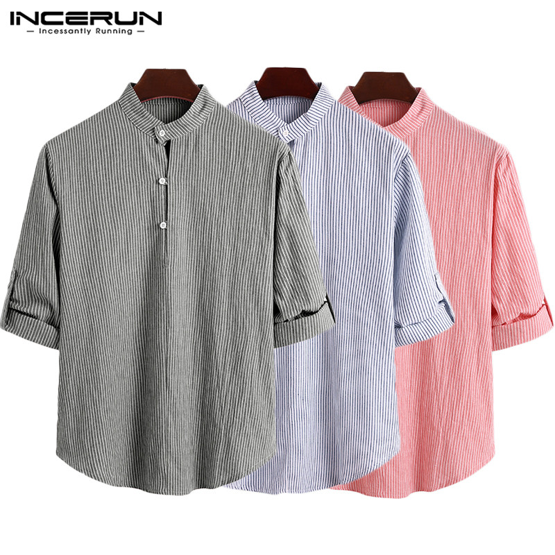 INCERUN 2020 Mens Striped Shirt Brand Long Sleeve Stand Collar Button Casual Blouse Fashion Leisure Streetwear Leisure Camisas