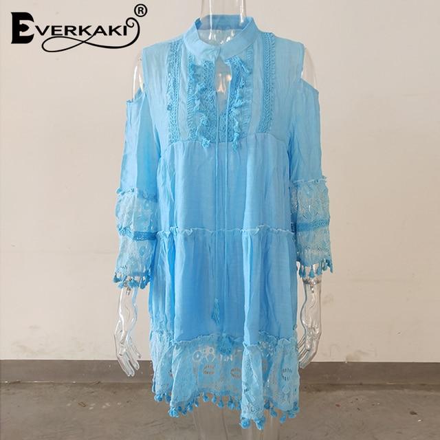 Everkaki bohemio-Vestido corto de manga larga para verano, minivestido con estampado étnico y hombros descubiertos para mujer, con borlas de encaje, 2020 5