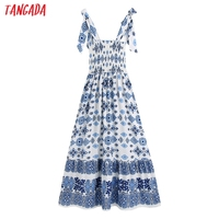Tangada Boho Style Fashion Flowers Print Strap Dresses for Women 2021 Female Casual Long Dress BE136 6