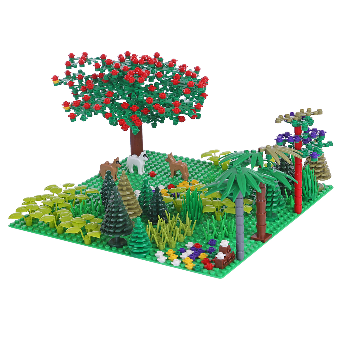 401Pcs DIY Small Particle Building Block Tropical Jungle Scenery Toy Set with <font><b>32x32</b></font> <font><b>Baseplate</b></font> for 100% Building Block Brands image