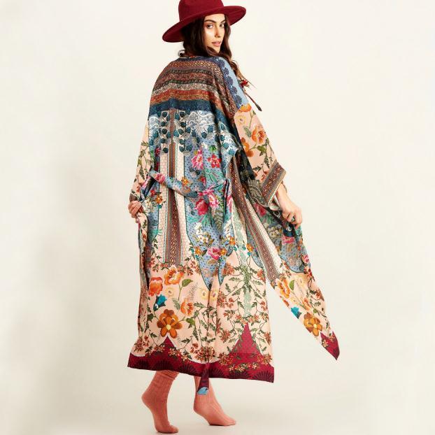 Japanese Kimono Fashion Blouse Women 2020 Floral Printed Yukata Kimono Cardigan Long Sleeve Cardigan Traditional Kimonos Dress