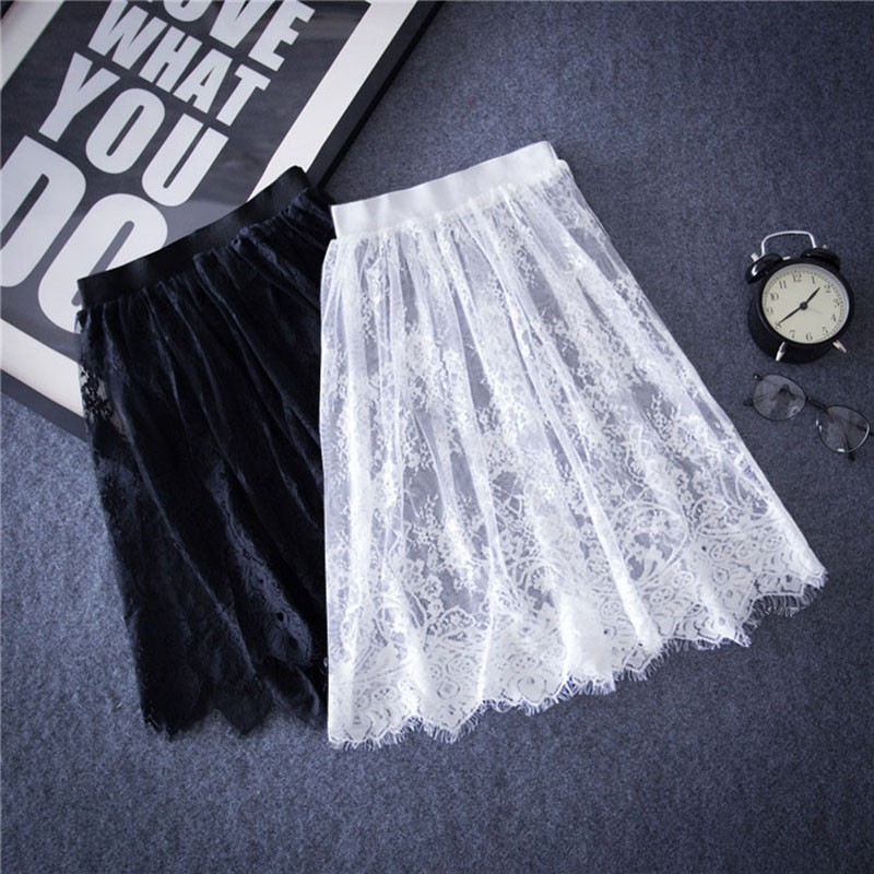 Lace Skirts Summer Elegant Women Solid Casual Mesh Tulle Skirt Hollow Out Short Pencil Black Skirt