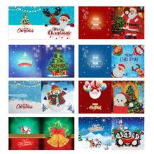 Pintura diamante cartões de natal diamante mosaico emboridery contas natal festival cartões postais aniversário presente de natal